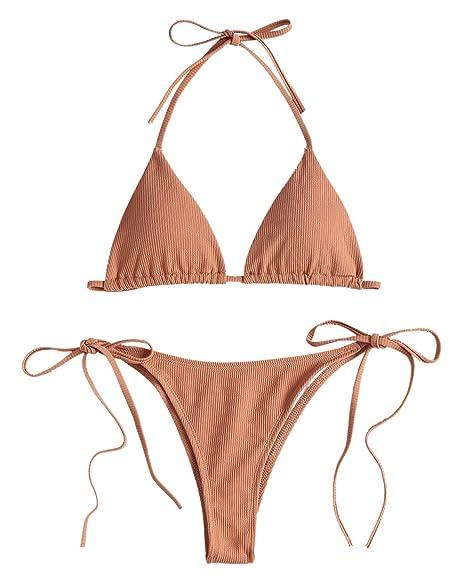 fca5de854d GAMISS Women's Halter String Thong Bikini Tie Side Triangle Bikini Set 2  Piece Swimsuit Brown