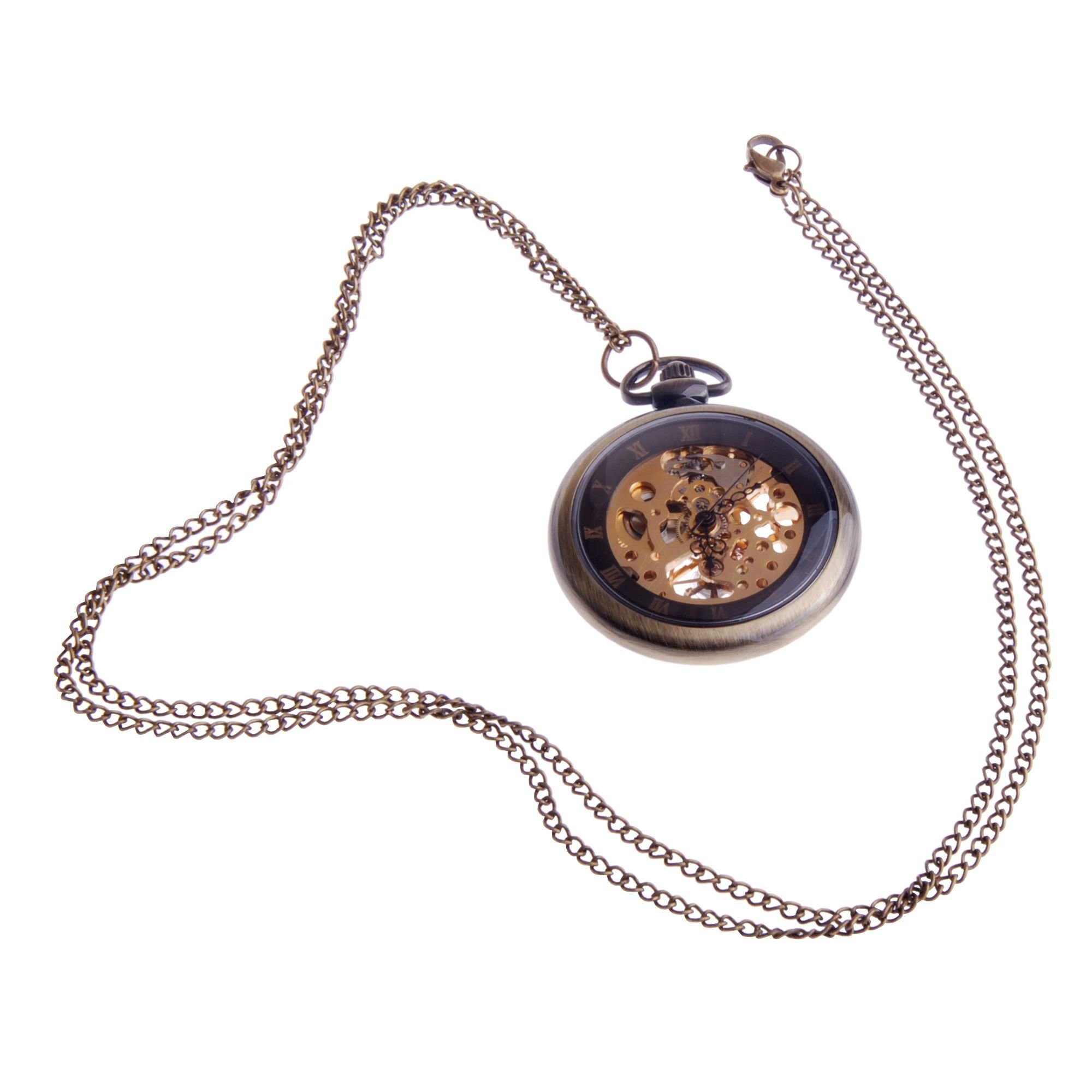ShoppeWatch Hand Wind Mechanical Skeleton Pocket Watch Open Face Steampunk Style With Chain - PW12 by ShoppeWatch (Image #3)