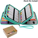 BTSKY PU Leather 160 Inserting Super Large Capacity Multi-layer Students Colored Pencil Wrap Storage Case Bag Pouch Holder Stationery Organizer (no pencils) (Lake Green)