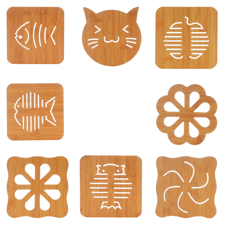 Non-Slip /& Heat Resistant Modern Kitchen Hot Pads Solid Trivet Set Bamboo Trivet Mat with Wooden Dish Rack Dishes Teapot Trivet Kitchen Trivets Hot Pot Holder Hot Pads for Table /& Countertop