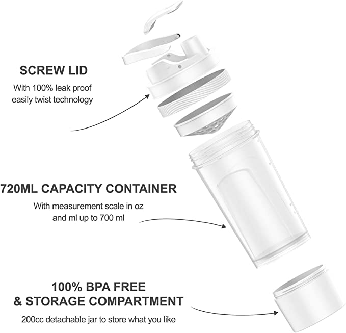 Holiday Season SimpleHH 1-4 Pack 24oz BPA Free Protein Shaker Bottle and 7 oz Twist and Lock Storage| 3-in-1 Gym Water Bottle Family Pack White Black Red Blue
