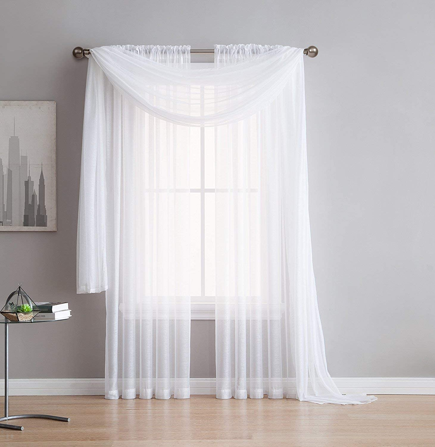 """ASATEX Light Filtering Semi Sheer Exta Long Length 54 by 216 Inch White Window Scarfs are Perfect As Decoration for Weddings, Backdrops, Canopy Beds, Costumes & Holiday Parties. ROM 54"""" x 216"""" White"""