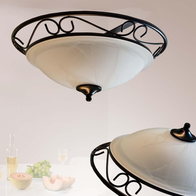 Innen - LED Energiespar-Deckenleuchte 2 x 6 Watt Rustikale Deckenlampe im Landhaus Stil