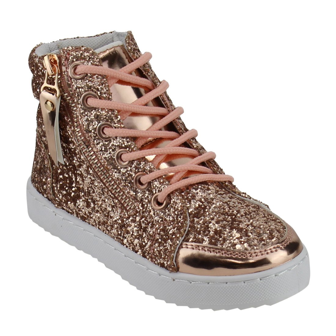 Link Ultra-69K Girls Glitter Lace up White Sole Ankle High Top Street Sneakers FP55
