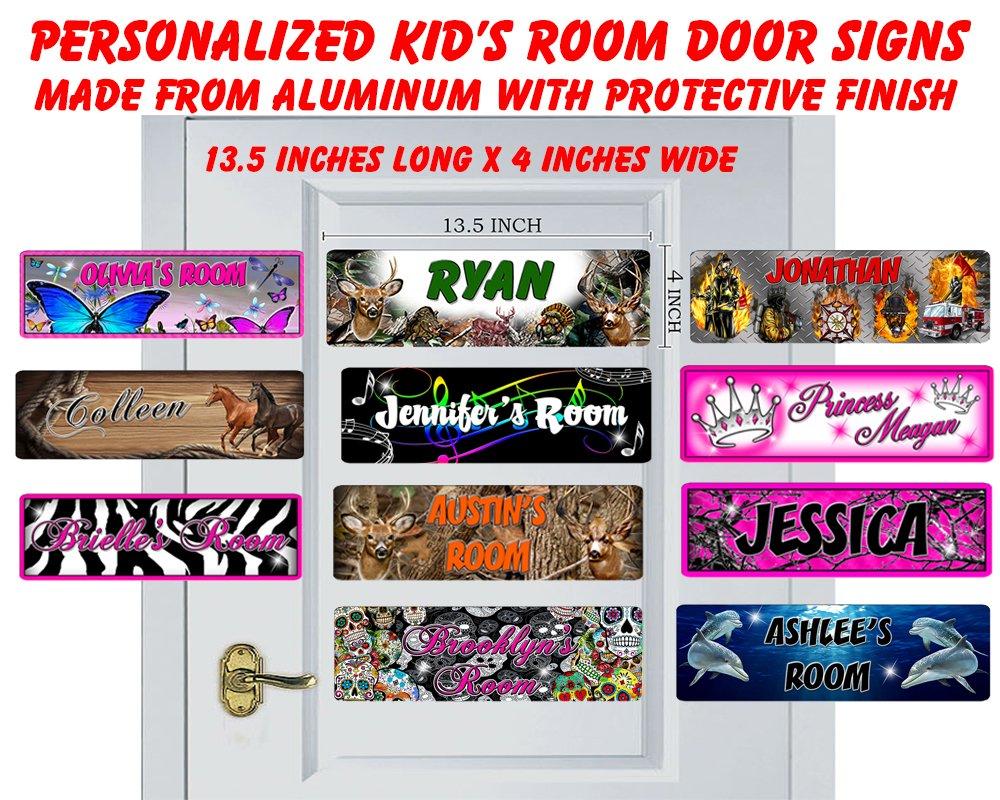 Onestopairbrushshop Personalized Kids Room Door Sign-Horses Bedroom Door Sign-Room Plaque