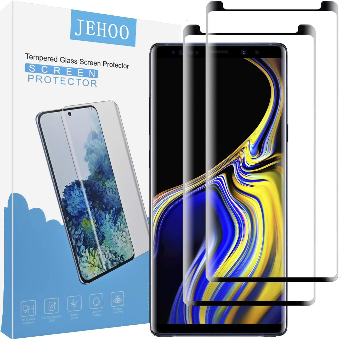 JEHOO Note 9 Screen Protector, [2 Pack] [New Version] HD Clear Tempered Glass, Anti-Bubble, Case Friendly, Anti-Bubble 3D Touch Accuracy Film for Samsung Note 9