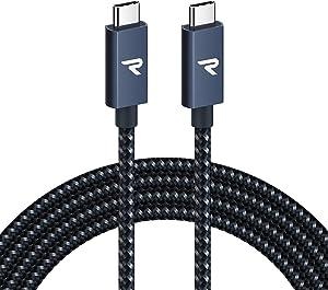 RAMPOW Cable USB C a USB C 3.2 Gen 2x2 con E-Mark, Cable Thunderbolt 3 con PD 3.0[20V/5A 100W], 4K@60Hz para Macbook Pro 16'' 2019/2017, iMac, Samsung S10/S9, Huawei P30, Nintendo Switch y más - 2M