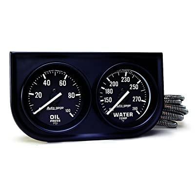 AUTO METER 2392 Autogage Black Oil/Water Gauge with Steel Console: Automotive