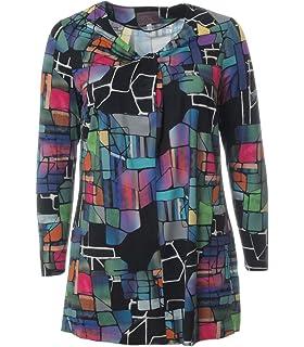 96cbadd22f4b Sempre Piu Damen Tunika Bluse Langarm elegant lang große Größen Blau Bunt  Muster Plus Size