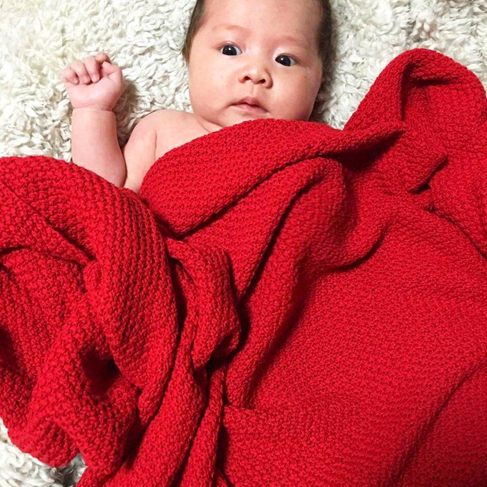 Rot Per Organic Cotton Knitted Baby Decke Swaddle Empfangen Decken f/ür Neugeborene Jungen M/ädchen Kinder