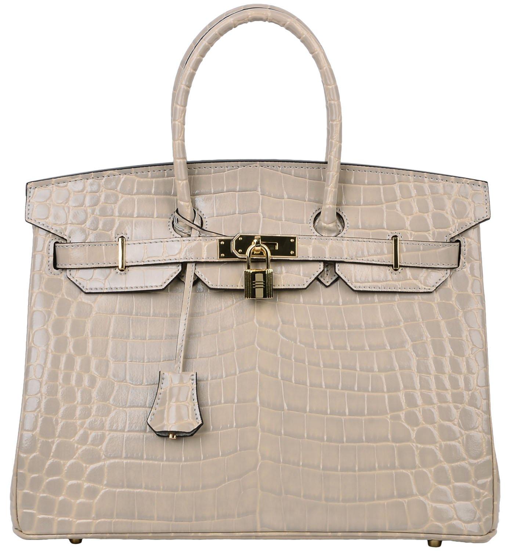 Cherish Kiss Padlock Bag Women Crocodile Leather Top Handle Handbags (35cm, Taupe)
