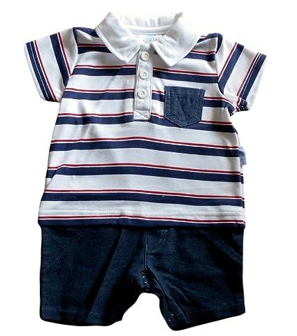 0 – 3 meses – Bebé Pelele de niños, diseño de color blanco azul y