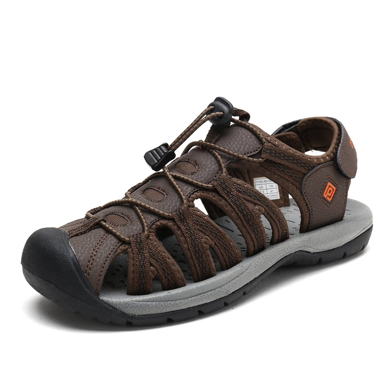 DREAM PAIRS Men's 160912-M-NEW Brown BLK Orange Adventurous Summer Outdoor Sandals Size 14 M US