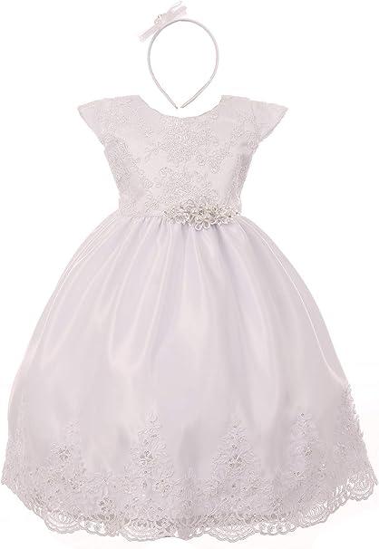 Rain Kids Little Girls White Hand Beaded Allover Lace Applique Baptism Dress 2-6