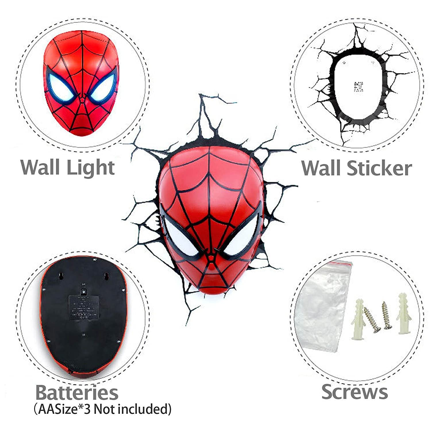 Marvel avengers spider man head 3d deco wall led night amazon marvel avengers spider man head 3d deco wall led night amazon camera photo aloadofball Image collections