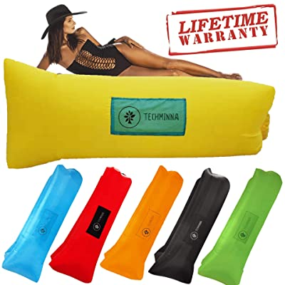TechMinna Best Inflatable Lounger Blow Up Couch Beach and Camping Chair Air Sofa Inflatable Couch and Portable Hammock | Camping Accessories for Picnics and Festivals (Yellow): Kitchen & Dining
