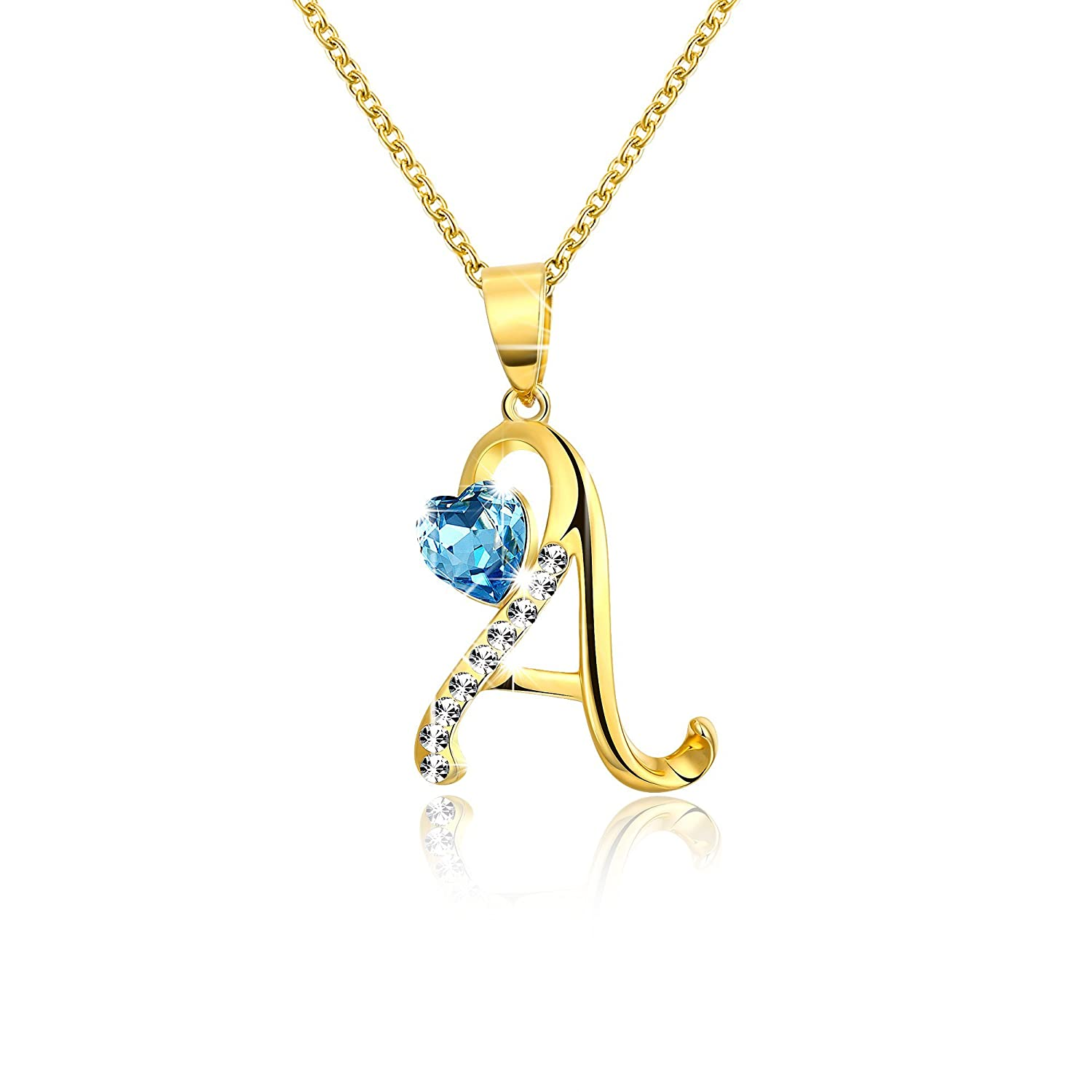 fa28975a31b8 Buy Yellow Chimes Crystals from Swarovski 22K Real Gold Plated Alphabet  Pendant for Women and Girls Online at Low Prices in India