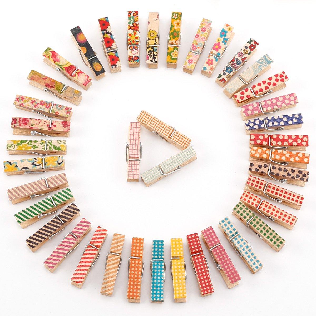 CLE DE TOUS - 50-100pcs Mini pinzas de madera pintados Clips para decorar Boda Fiesta Foto Papel Nota Tarjeta postal (100) Anladia