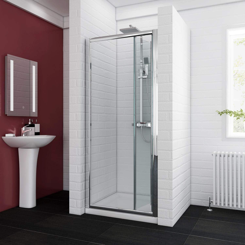 Reversible plegable mampara de ducha cubículo puerta de cristal ...