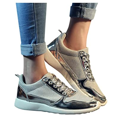 YiYLunneo Shoes for Women Flats Comfortable Sequins Nightclub Sneakers Lace Up Sport Sneakers Slip On Running Shoes