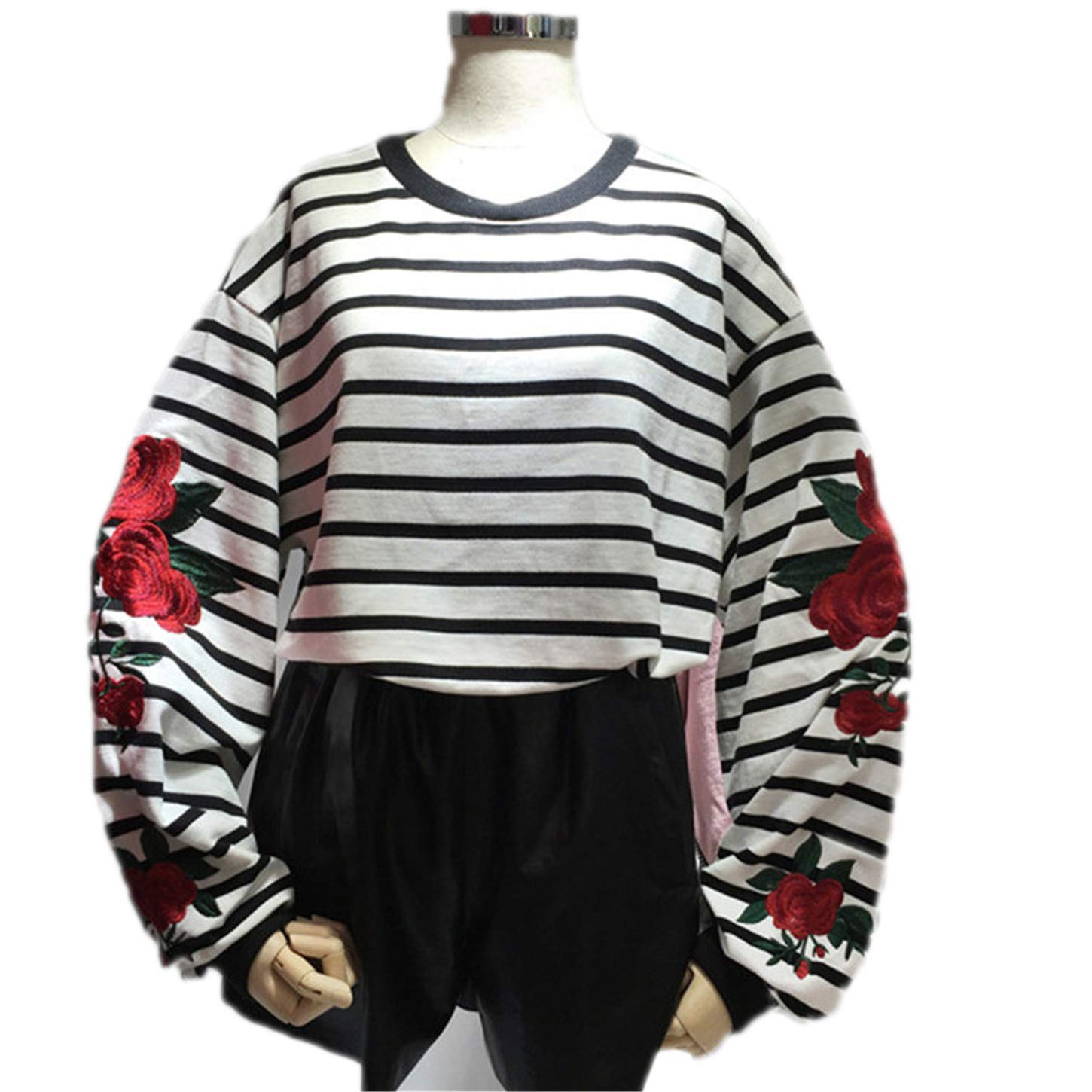 Amazon.com: Harajuku Hoodies Roses Embroidery Lantern Sleeve Loose Striped Women Sweatshirt Girl Vintage E: Clothing