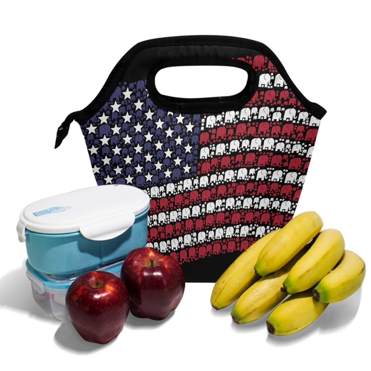 Lunch Box Bag Abstract Elephant Pattern Bandiera degli Stati Uniti Tote nero Borsa termica isolata per uomo Donna Scuola Teens Office Picnic