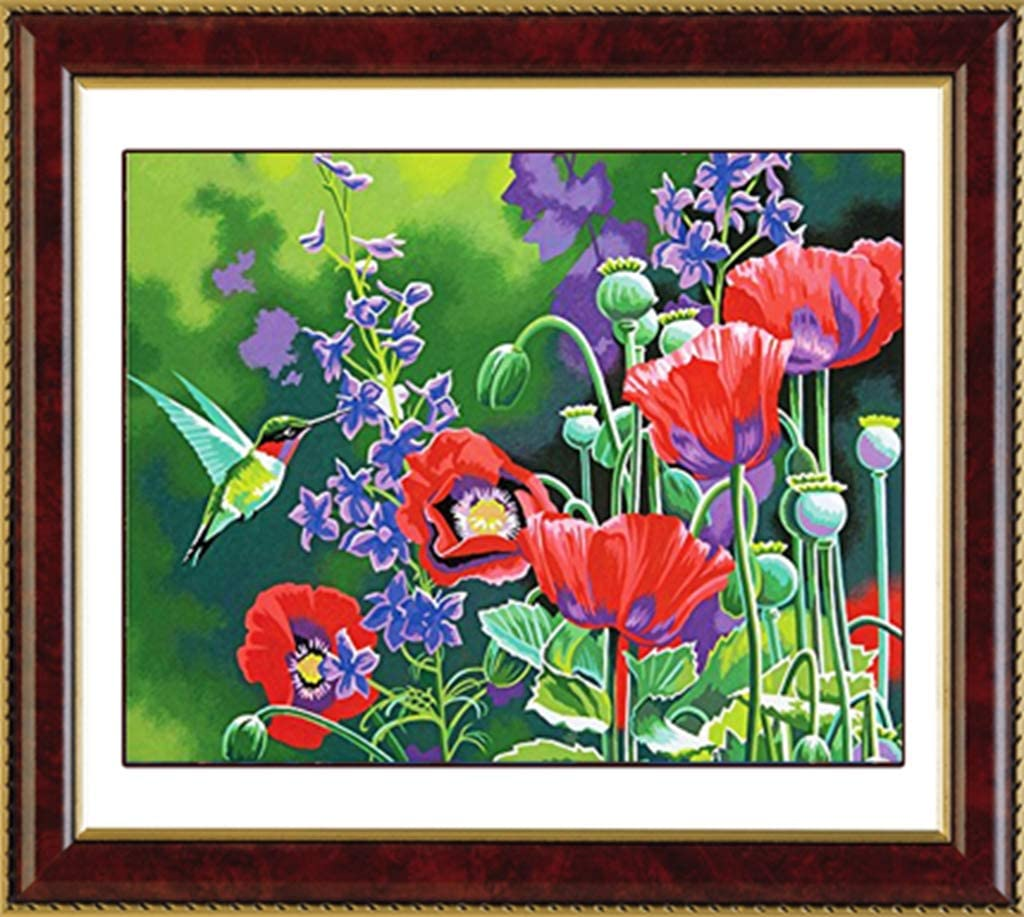 18.7x16 Bird and Poppies TINMI ARTS-5D Diamond Painting Kits for Adults Full Round AB Drills Mosaic Cross Stitch Kits Embroidery Kits Home Wall D/écor