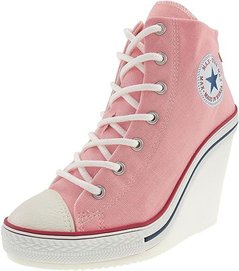 586cb1ea7e10 Maxstar 777 Back Zipper High-Top Wedge Heels Shoes  Amazon.co.uk ...