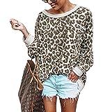 Barlver Women's Casual Leopard Print Sweatshirts Long Sleeve Loose Pullover Tops Sweater Shirts