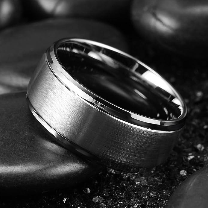 King Will Anillo de Boda de carburo de tungsteno básico de 10 mm, Acabado Mate, para Hombres y Mujeres: Amazon.es: Joyería