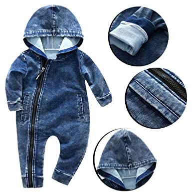 Amazon.com: Hauzet Baby Boys Girls Jumpsuit Jeans Wear Hooded ...