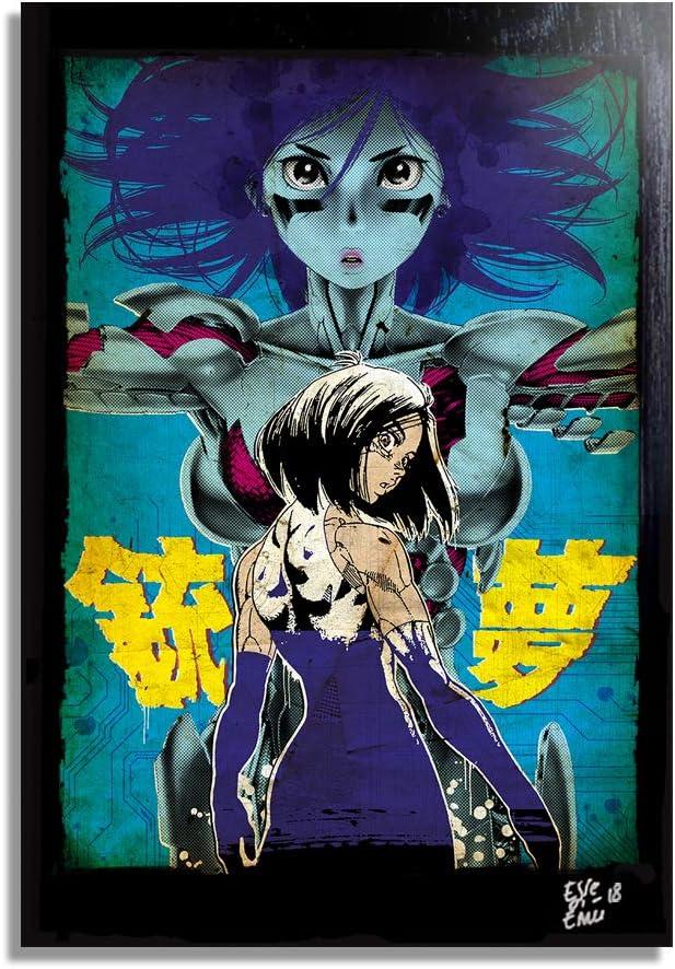 Battle Angel Alita (GUNNM by Y. Kishiro) - Pop-Art Original Framed Fine Art Painting, Image on Canvas, Artwork, Movie Poster, Anime, Manga