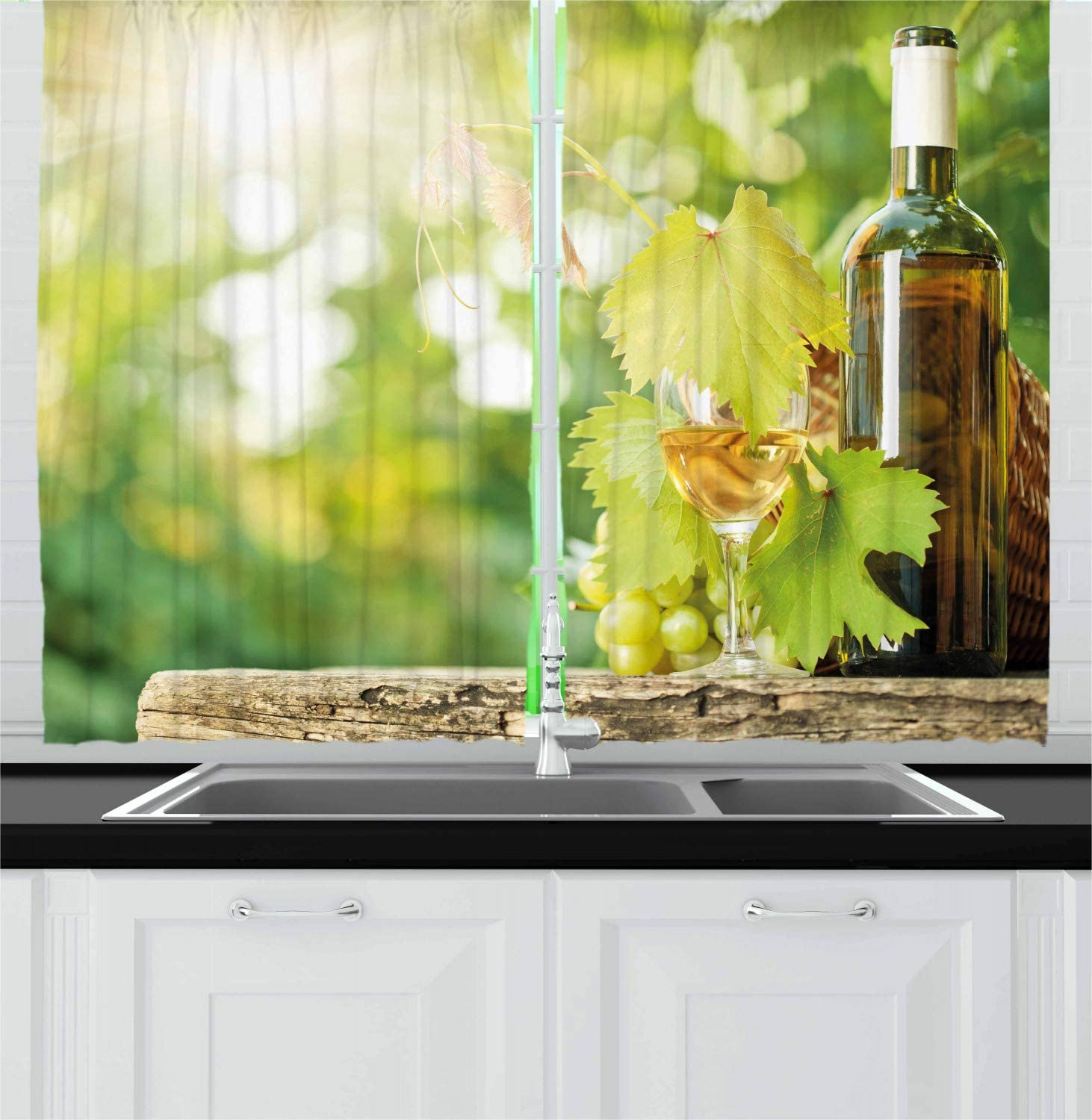 Ambesonne Wine Kitchen Curtains, White Wine Bottle Glass Young Vine and Bunch of Grapes in Green Spring, Window Drapes 2 Panel Set for Kitchen Cafe Decor, 55