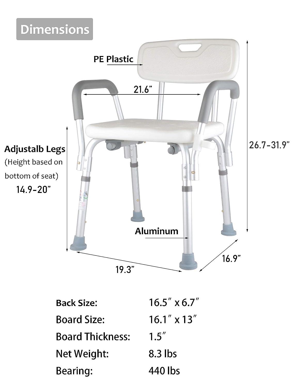 Amazon.com: Kugga Asiento de Baño de Aluminio Ajustable para ...