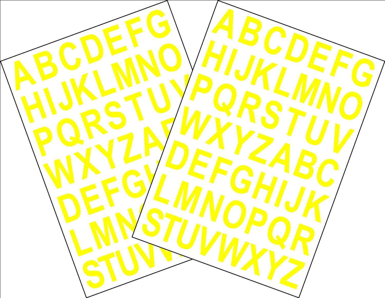 2x Fogli A5 di autoadesivi con le lettere dellalfabeto Bianco Altezza 2.5CM con retro adesivo tagliato a computer colore