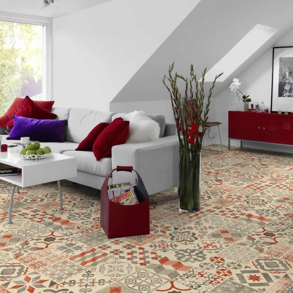 2 m de ancho largo variable por metros LIVINGFLOOR/® Pavimento de PVC efecto suelo estilo retro r/ústico color rojo mediterr/áneo