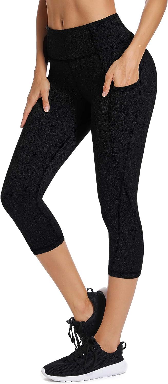 Vlazom Leggings Deportivas Mujer de Alta Cintura con Bolsillos Invisible Pantalones de Yoga Mujer de El/ásticos y Transpirables para Yoga y Correr etc