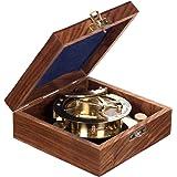 Dekorativer voll Funktionsfähiger großer nautischer Kompass 13109 aus Messing mit Sonnenuhr in edler Geschenk Holzbox . Nautik Optik, Boot, Schiff, Maritim , Nostalgie