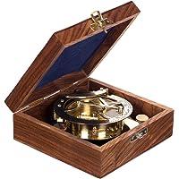 Nautisch kompas, volledig functioneel, decoratief, groot, 13109, van messing, met zonnewijzer, in elegante cadeaudoos…