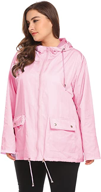 Large Size Ladies Hooded Wind Water Repellent Windbreaker Jacket Color Black