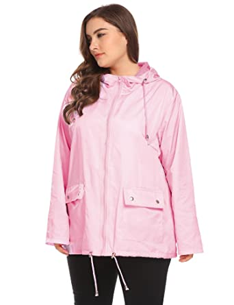 9af22bb4b446 Zeagoo Women Plus Size Lightweight Windbreaker Full-Zip with Hooded  Waterproof Anorak Coat