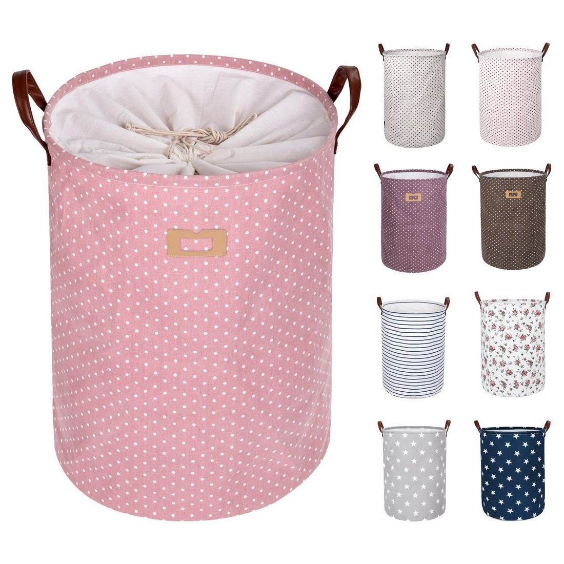 DOKEHOM DKA0822PKXL 22'' Thickened X-Large Laundry Basket -(9 Colors, 19'' and 22'')- with Durable Leather Handle, Waterproof Round Cotton Linen Collapsible Storage Basket (Pink, XL)