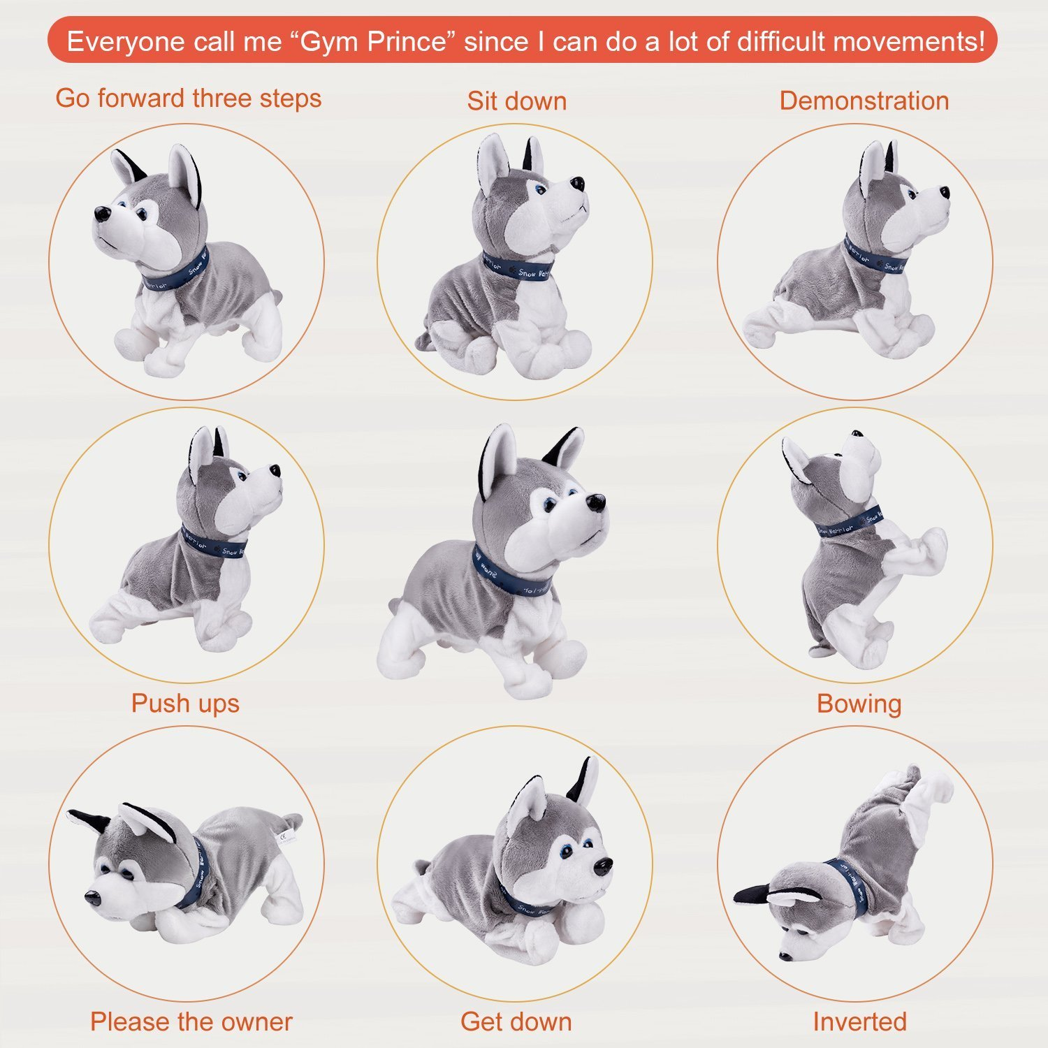 Interactive Puppy Plush Animated Pet Electronic Dog Cute Robot Dog Baby Toys Touch Control Plush Husky Stuffed Animal Dog Toy Toddler kids Girl Toys Tumbling, Clapping hands, Bowing Length 12'' by Marsjoy (Image #2)