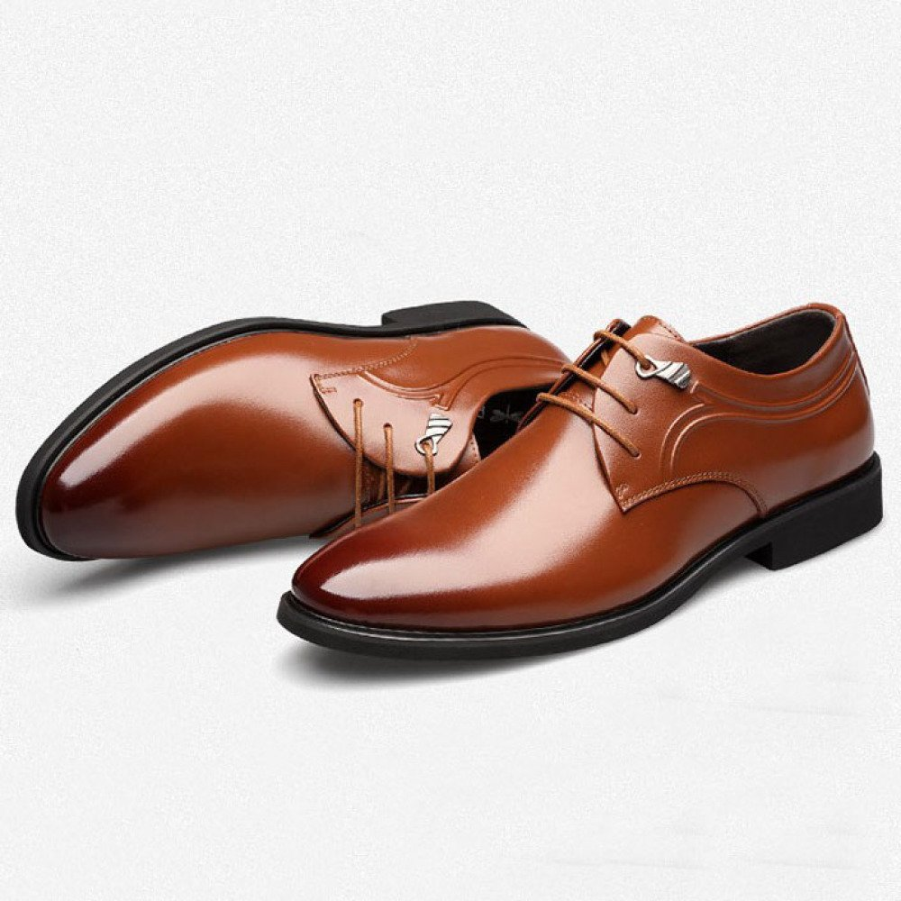 HGDR Männer Formale Schwarze Schuhe Schuhe Schwarze Schnüren Sich Oben Lederne Derby-Schuhe Für Hochzeits-Geschäft und Tägliche Abnutzung, Flache Zufällige Schuhe der Männer Braun f71114