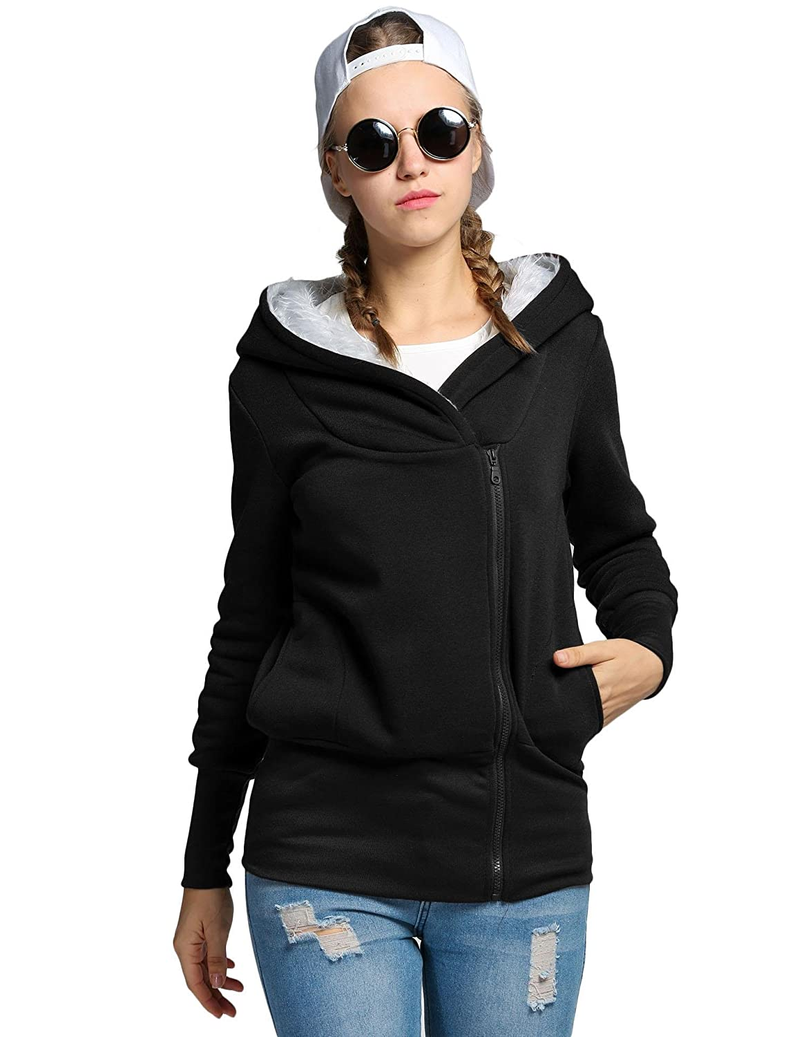 ce52a3d600f Nessere Women Hoodie Jacket Coat Warm Outerwear Hooded Zip Cardigan Jacket  Coat at Amazon Women s Clothing store