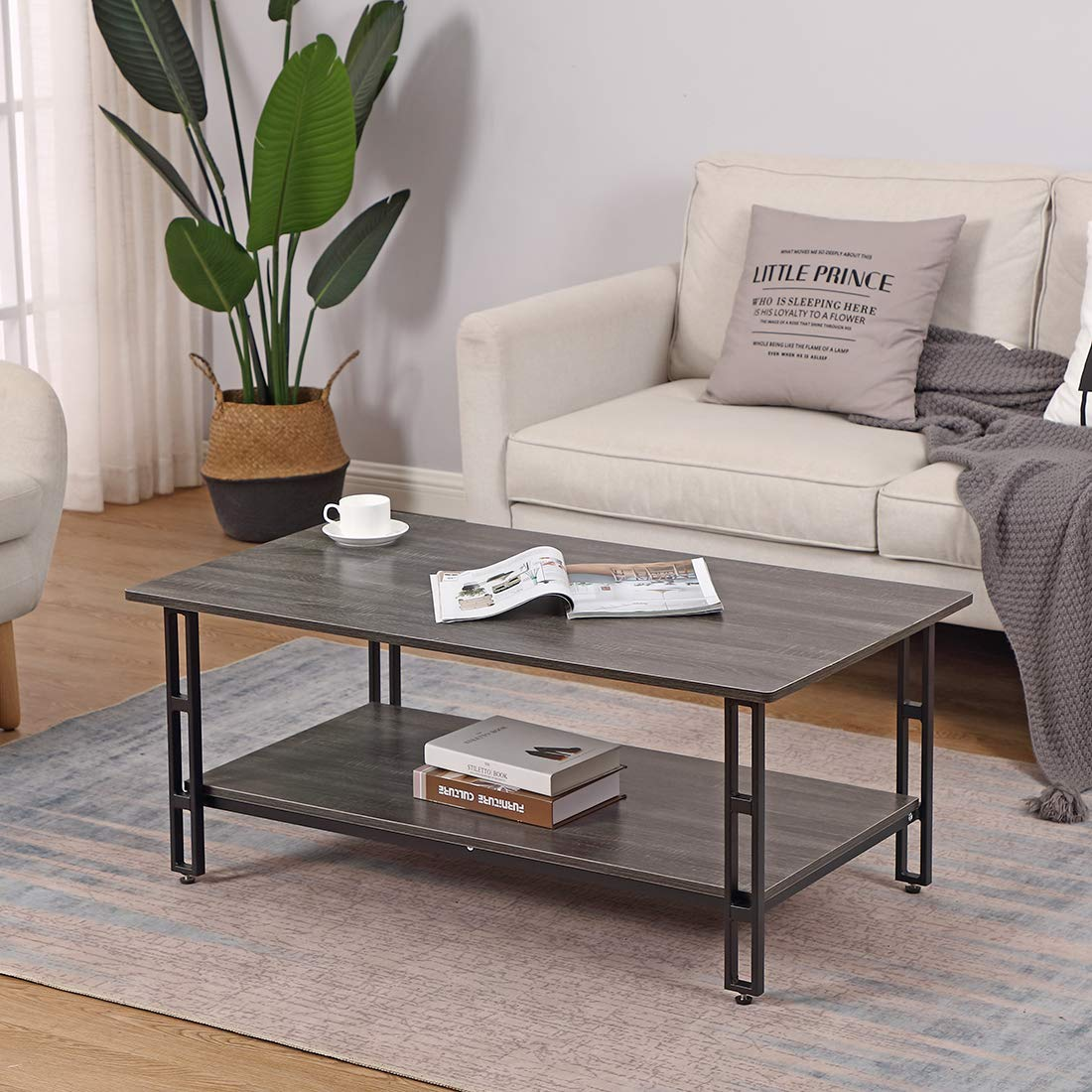 Cocktail Coffee Table Vintage Grey with Storage Shelf - Bizzoelife 42 Inches Industrial Tea Table Rustic for Living Room by Bizzoelife