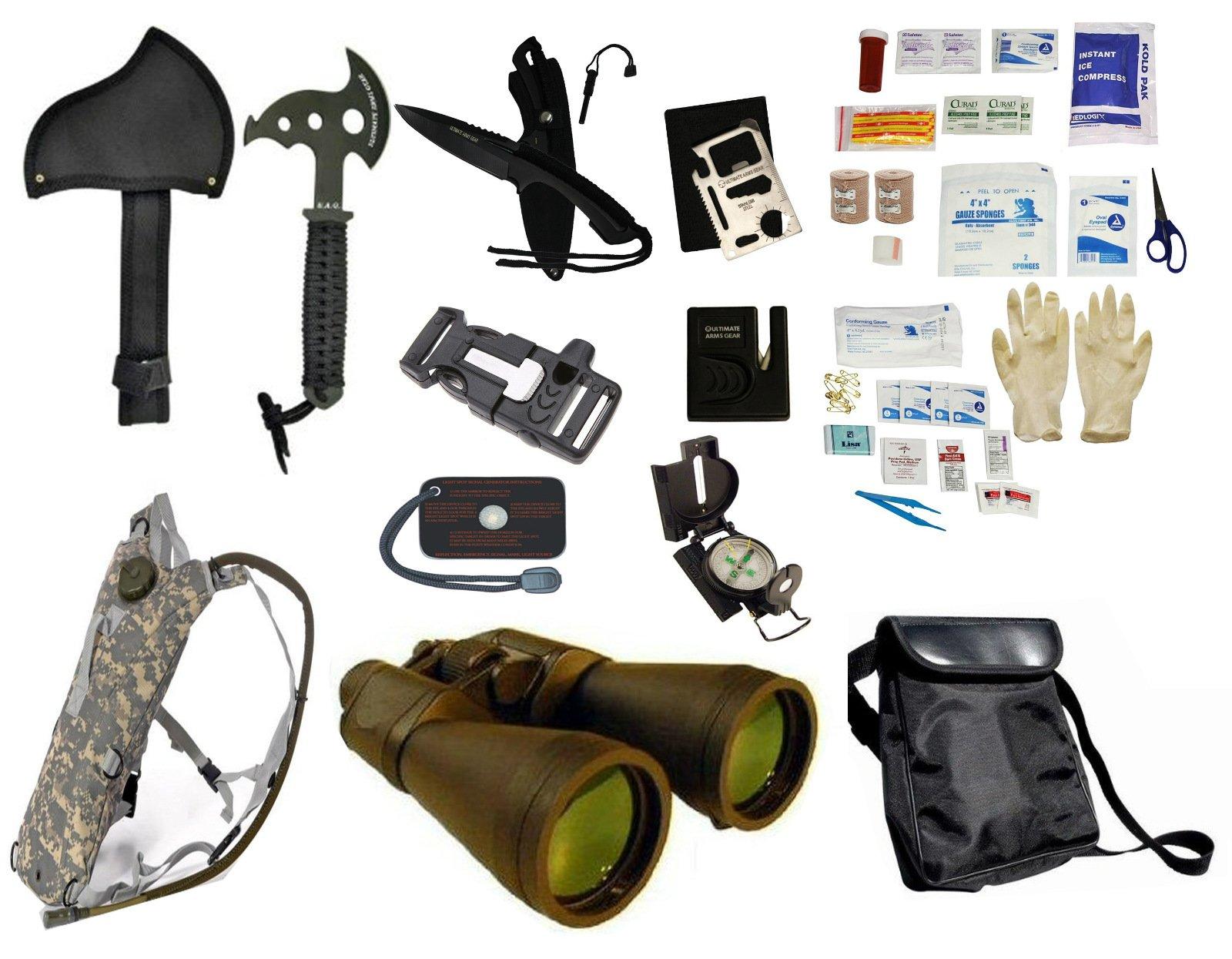 Survival Camping Hiking Kit: Emergency First Aid, 20X70 Binoculars Green,Sharpener, Axe, Fire Blade, Whistle Flint Striker Belt Buckle, ACU Hydration Backpack, Multi Tool, Compass, Signal Mirror