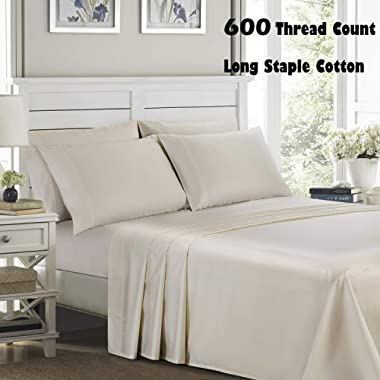 Bed Sheet Set Queen Size Sheets Set 4 Piece, 600 Thread Count 100% Long Staple Cotton Bedding Set, Sateen Weave, Deep Pocket, Breathable & Fade Resistant(Queen, Linen)