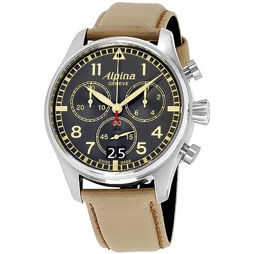 Alpina Startimer Reloj de Hombre Cuarzo 44mm Correa de Cuero AL-372BBGR4S6: Amazon.es: Relojes