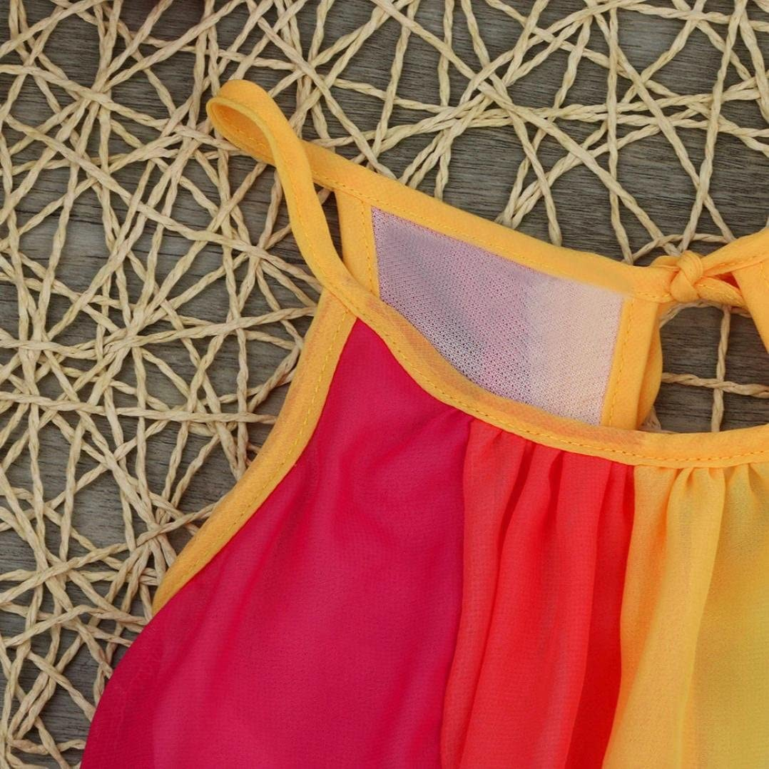 Lanhui Sunny Kids Baby Girl Princess Clothes Sleeveless Chiffon Tutu Rainbow Dresses